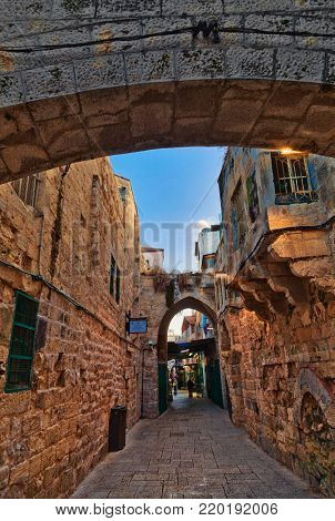 JERUSALEM, ISRAEL - DECEMBER 26, 2016: The famous among pilgrims and tourists Via Dolorosa street is completely empty in evening. This street ran the way of Jesus Christ to place of the crucifixion