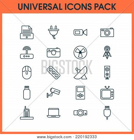 Hardware icons set with wireless router, television, extension cord and other presentation elements. Isolated vector illustration hardware icons.