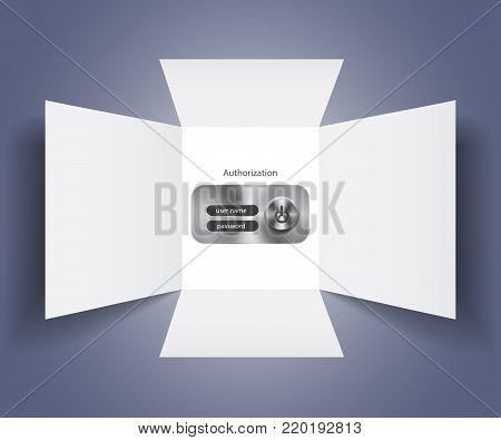 Vector banking authorization form webpage password illustration