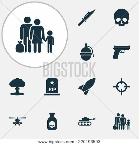 Battle icons set with rip, missile, fugitive and other target elements. Isolated  illustration battle icons.