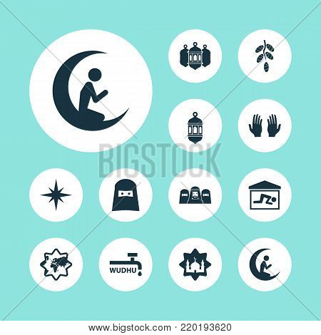 Ramadan icons set with man with moon, lantern, muslim and other man with moon elements. Isolated  illustration ramadan icons.