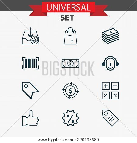 Commerce icons set with buck, dollar banknote, recommended and other price stamp elements. Isolated  illustration commerce icons.
