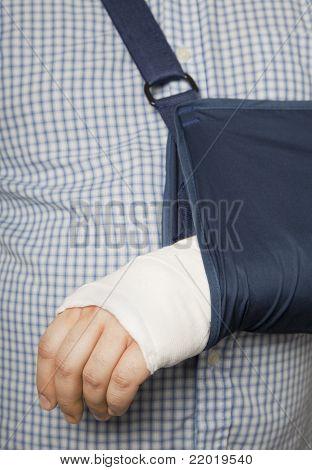Bandaged arm in sling