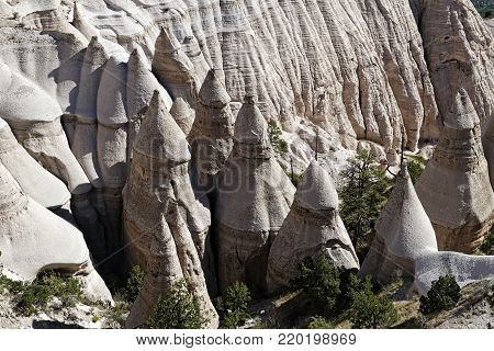 Unusual eroded rock formations highlight Tent Rocks National Monument in New Mexico.