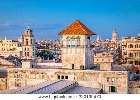 Havana, Cuba old town skyline.