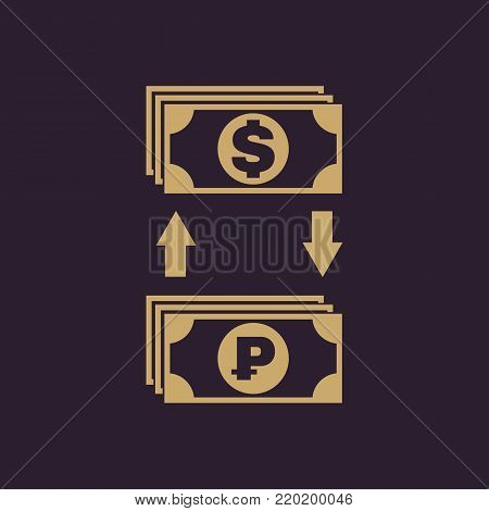 Currency exchange dollar and ruble icon. Bank and finance, pay symbol. Flat design. Stock - Vector illustration