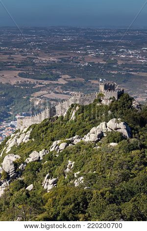 The Castle of the Moors, a hilltop medieval castle in Sintra, Portugal, built by the Moors in the 8th-9th centuries, classified as a National Monument, a UNESCO World Heritage Site.