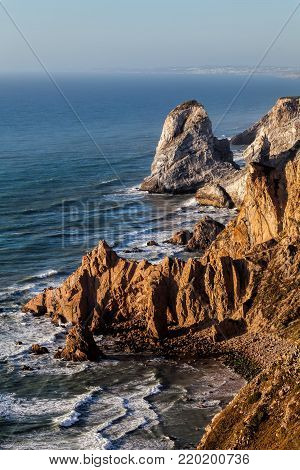 Cape Roca forms the westernmost extent of mainland Portugal, continental Europe and the Eurasian land mass.