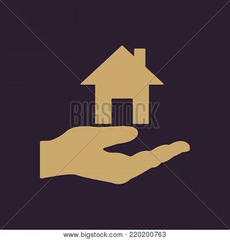 House in hand icon. Realty, realtor, rental housing symbol. Flat design. Stock - Vector illustration