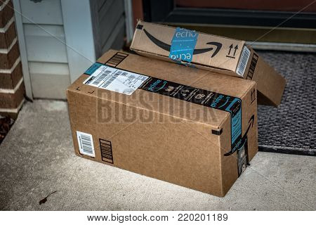 Two Amazon Prime Delivery Brown Boxes