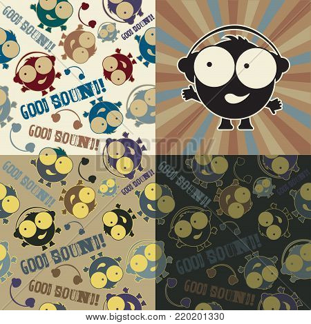 Set of cartoon cute Musical doodles seamless pattern. Good sound!.Hipster flat children style. Dirty grange text..Boy in headphones.