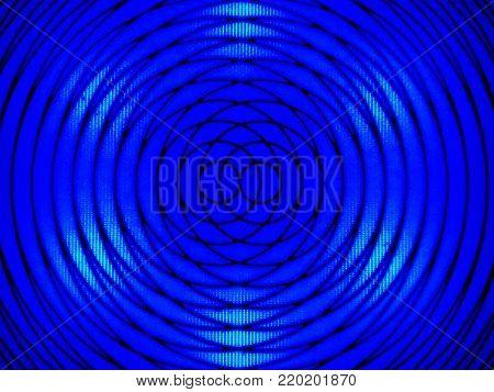 vivid black abstract circular design on illuminated bright blue background