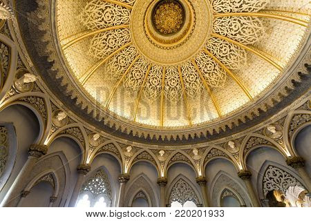 MONSERRATE, PORTUGAL - October 3, 2017: Ceiling of the Music Room of the Monserrate Palace, an exotic palatial villa located near Sintra, Portugal