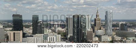 Panorama of Warsaw financial center during sunny day, Poland, Europe