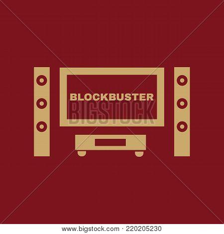 Blockbuster movie icon. TV and Home theater, cinema symbol. Flat design. Stock - Vector illustration