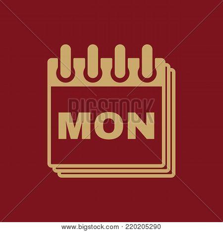 Monday icon. Mon and calendar, data symbol. Flat design. Stock - Vector illustration