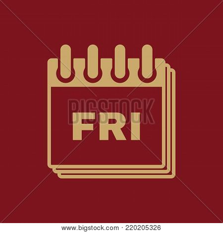 Friday icon. Fri and calendar, data symbol. Flat design. Stock - Vector illustration
