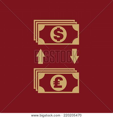 Currency exchange dollar and pound sterling icon. Bank and finance, pay symbol. Flat design. Stock - Vector illustration