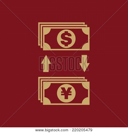 Currency exchange dollar and yen icon. Bank and finance, pay symbol. Flat design. Stock - Vector illustration