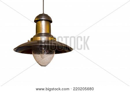 metal plafond with lamp hanging on white background.Copy space