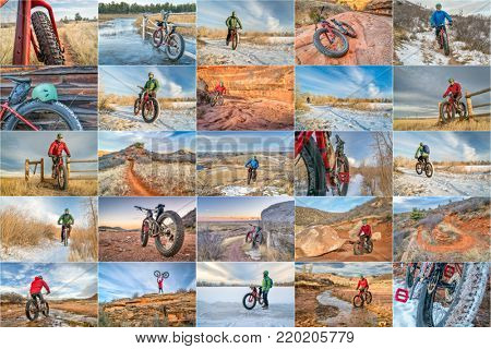 fat bike riding in northern Colorado - a collage of 25 pictures from northern Colorado featuring the same senior male rider