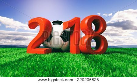 New year 2018 with soccer football ball on green grass, blue sky background. 3d illustration