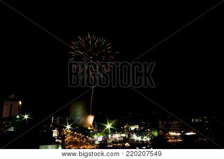 Blur image of Fireworks Display Show at Ipoh,Perak,Malaysia. soft focus,motion blur due to long exposure. visible noise due to high ISO.
