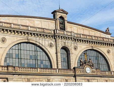 Zurich, Switzerland - 9 August, 2015: a part of the facade of the Zurich main railway station building, view from Bahnhofquai quay. The building was designed by architect Jakob Friedrich Wanner, opened in 1871.