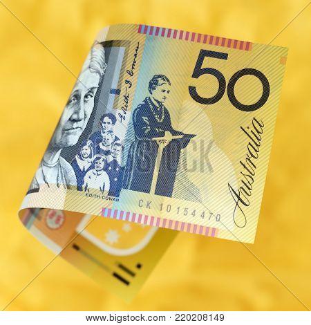 Australian money over vibrant golden background.