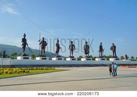 Hua Hin THAILAND- 10 DEC 2017: Statues of seven former Thai kings i the Ratchapak Park, This is the new landmark and most popular in Hua Hin Thailand
