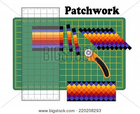 Patchwork DIY, Cutting Mat, Quilters Ruler, Rotary Blade Cutter, Traditional Seminole Strip Piece Design Pattern Frame, cut fabric into strips, reorganize strips into patterns and designs.