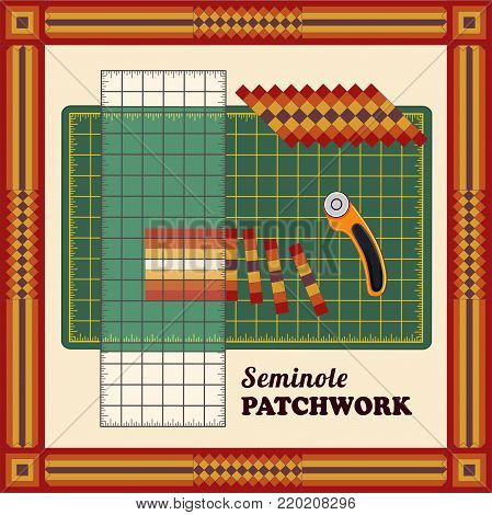Patchwork DIY, Cutting Mat, Quilters Ruler, Rotary Blade Cutter, Traditional Seminole Strip Piece Design Pattern Frame, sew narrow bands of fabric together lengthwise, cut fabric into strips, reorganize strips into patterns and designs.