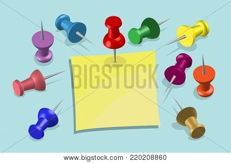 """""""Note Paper and Pushpins"""" In this vector based illustration document all the objects are in different layers and each one convenient to use without background and other objects. poster"""