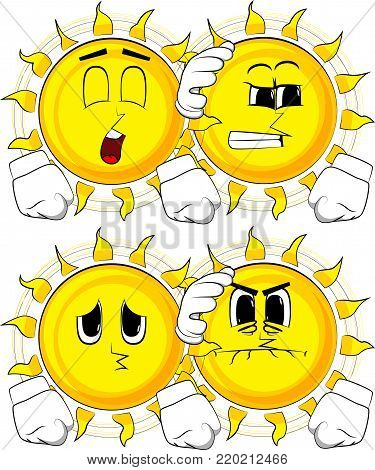 Cartoon sun comforting another sun. Collection with sad faces. Expressions vector set.