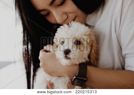 Woman Holding Adorable Dogt. Female Teenager With Pet At Home. People, Animal, Lifestyle Concept