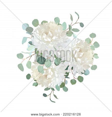 Delicate creamy white chrysanthemum flowers bouquet. Floral card design with garden dahlia, silver dollar eucalyptus. Elegant wedding greenery. Vector watercolor style. All elements are isolated.