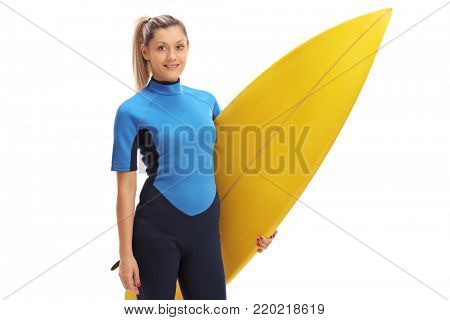 Female surfer posing with a surfboard isolated on white background