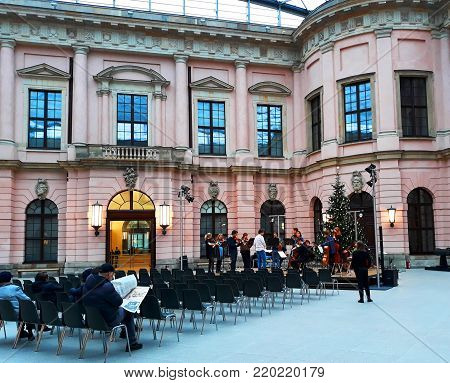 BERLIN, GERMANY - 3 December 2017. Children's Orchestra rehearses before Christmas in the building of The Zeughaus (The German Historical Museum)