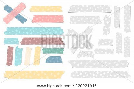 Set of colorful and white different size adhesive, sticky tape, paper pieces with stars