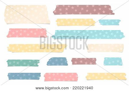 Colorful different size adhesive, sticky tape, paper pieces with stars