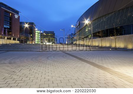 Liverpool, Merseyside, UK - February 20, 2009: Echo Arena in Kings Dock Liverpool at Night