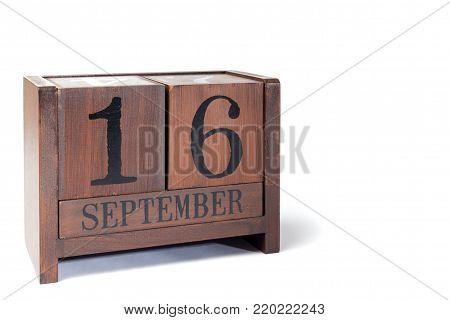 Wooden Perpetual Calendar set to September 16th