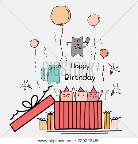Happy Birthday Card With Cute Cat In The Big Gift Box. Angels Cat Holding A Cake And Cat Hanging Up In The Air With The Balloons. Hand Drawn Vector Illustration.