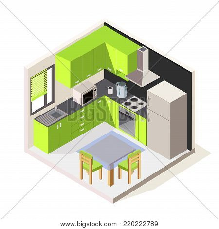 Vector isometric kitchen room. Green modern kitchen furniture. 3D kitchen furniture with major kitchen appliances. Vector illustration