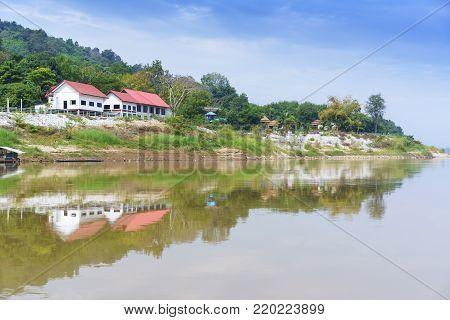 Beautiful scenery along Mekong river with reflection , Nong Khai , Thailand