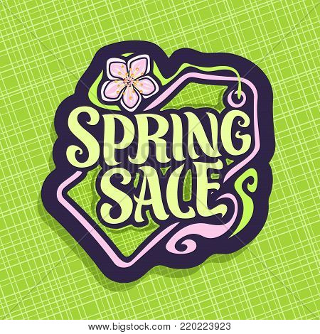 Vector logo for Spring season Sale, promotion price tag for spring discount, decorative handwritten font for text spring sale, springtime cut paper label with flower, promo coupon for seasonal offer.