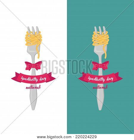 Vintage banner. National Spaghetti Day. Elements of corporate identity for restaurant, cafe. Corporate branding. Fork with spaghetti, to which is attached bow and an inscription on ribbon