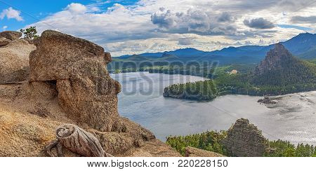 Lake Borovoye on a cloudy day. Kazakhstan.