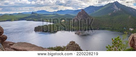 Kazakhstan. Lake Borovoye on a cloudy day