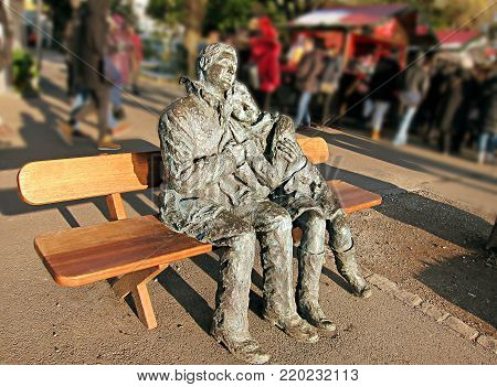 In Love Forever. Statue The Lovers (Les Amoureux), on a park in Montreux, Switzerland. Love immortalized in bronze.
